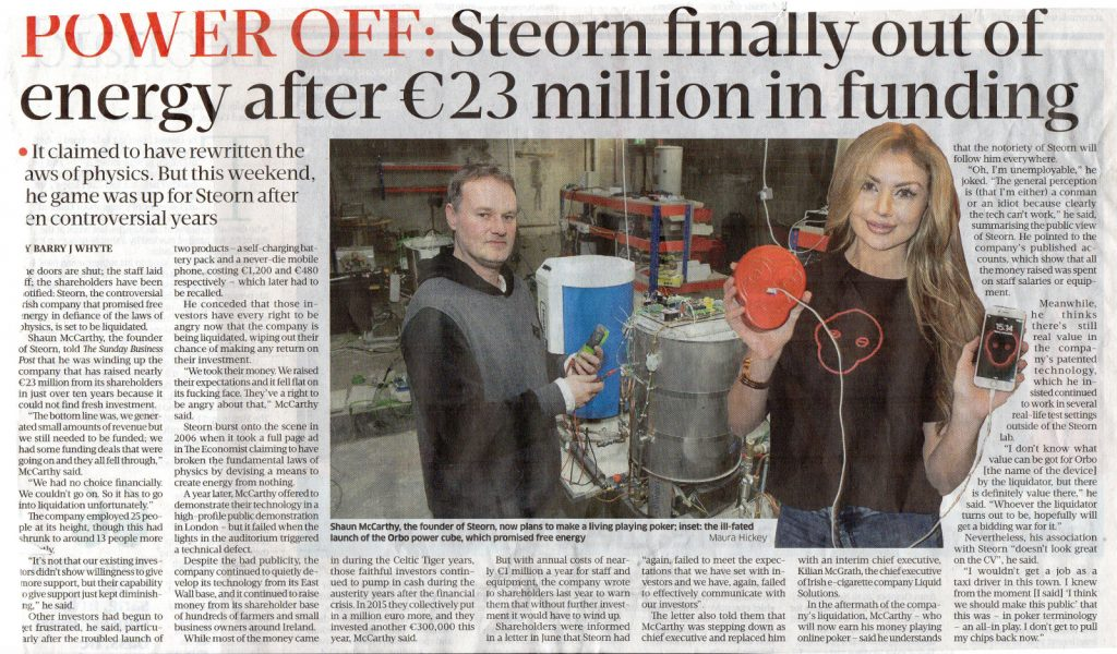 Sunday Business Post article on Steorn liquidation (click to enlarge)